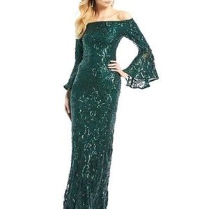 Betsy & Adam Sequined Off-The-Shoulder Gown Green